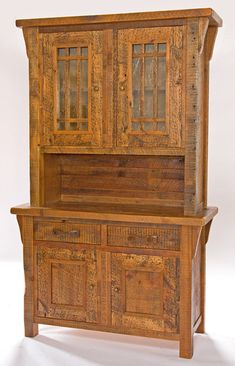 Barnwood Hutch with Glass Doors and Drawers