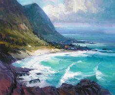"""Big Swell, Makapu'u by Richard Robinson Oil ~ 16"""" x 20"""""""