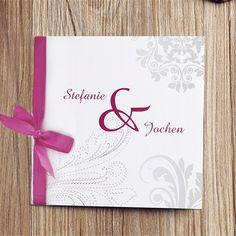klassische grau Muster und rosa Schleife Hochzeitskarten OPL016 Neue Einladungskarten zur Hochzeit 2014 bei optimalkarten.de!