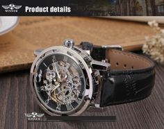 Winner leather strap mechanical silver skeleton mens wristwatches #Winner #Fashion