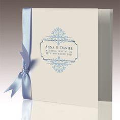 Romance wedding invitations in ice blue