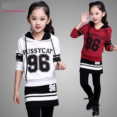 804e615d kids girl letter hoodies+pants fashion t shirt for girls sport suit set 6  14 years old tracksuit for girls 11 298-in Clothing Sets from Mother & Kids  on ...