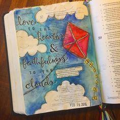 Bible Journaling by Kayla @kaylas_painted_faith | Psalm 57:10-11