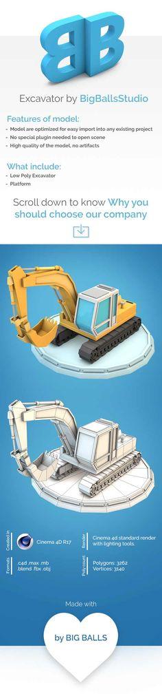 Low Poly Excavator Download 3D Model  Formats: max, maya, c4d, blend, fbx, obj