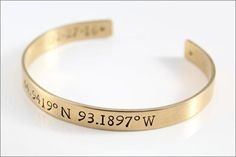 Remember that special place by customizing this bracelet with your choice of coordinates.  This hand made bracelet makes the perfect gift for your significant other, with the coordinates of the place you met.  #gpscoordinates #latitudelongitude #goldcuff