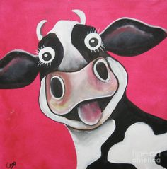 Mrs Cow Painting by Caroline Peacock - Mrs Cow Fine Art Prints and Posters for Sale