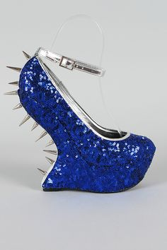 Privileged Valeria Sequin Studded Spike Heel Less Curved Wedge $75