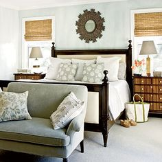 textures, pale hues with high contrast wood tones, window treatments