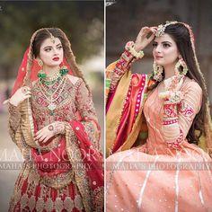 Mehndi look or Barat look ? Bride of the day💕 Mua Pakistani Bridal Hairstyles, Bridal Hairstyle Indian Wedding, Pakistani Wedding Dresses, Punjabi Wedding, Pakistani Outfits, Indian Outfits, Asian Bridal Wear, Desi Wedding Dresses, Wedding Bride
