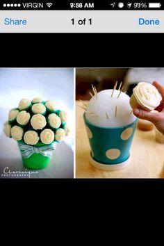 Cupcake bouquet. Super cute idea for a bridal shower