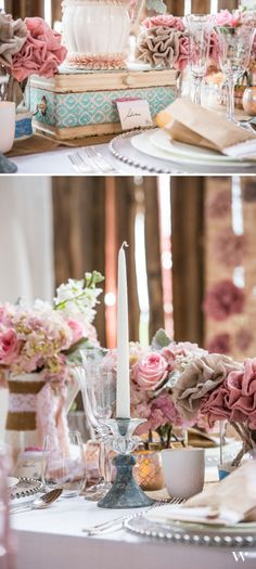 Let your love of everything shabby chic shine with this vintage inspired theme. Mixes of burlap blooms and live florals make this design really wow! Be inspired and shop the look here: http://www.weddingstar.com/e-catalog