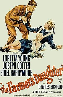 The Farmer's Daughter is a 1947 movie that tells the story of a farmgirl who ends up working as a maid for a Congressman and his politically powerful mother. It stars Loretta Young, Joseph Cotten, Ethel Barrymore, and Charles Bickford, and was adapted by Allen Rivkin and Laura Kerr from the play Juurakon Hulda by Hella Wuolijoki, using the pen name Juhani Tervapää. It was directed by H.C. Potter.  The film won the Academy Award for Best Actress for Loretta Young.