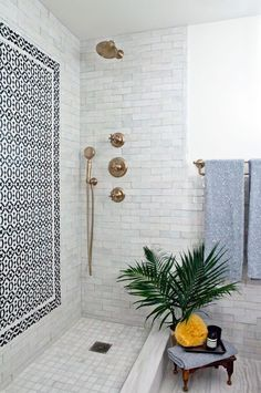 Patterned Tiles, Brass Details and Green Palm Plant | Bathroom