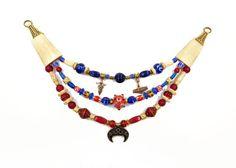 GRATIS VERSAND  Wikinger Fibelkette 3-reihig Lunula/Mjölnir/keltischer Knoten Knochen + Lampwork Perlen von BelanasSchatzkiste
