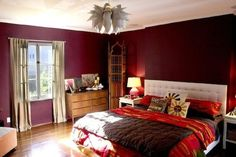 DEEP RED While bright red walls are typically too stimulating for the bedroom, muted shades of red, such as burgundy or the wine shown here (this color is Rookwood Dark Red from Sherwin-Williams), are equally dramatic, yet allow you to get to sleep at night. You can up the excitement factor with a few touches of bright color to play up the strong walls, but keep it under control by limiting those accents to a few pieces of artwork or the bedding. A funky ceiling fixture is another way to…