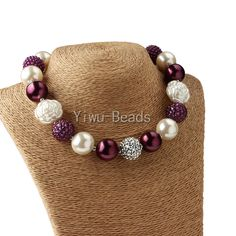 New Kids Purple White Pearl Beaded Chunky Bubblegum Necklace 1pc Free Shipping  #Unbranded