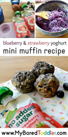 blueberry & strawberry yoghurt mini muffin recipe  - an easy muffin recipe for toddlers and preschoolers . #toddlers #myboredtoddler #toddlerrecipes #toddlermealideas #yoghurt #minmuffins #muffins #muffinrecipes #healthyrecipesforkids #healthyrecipes  #kidsrecipes #toddlerrecipes #yoghurtrecipes #berryrecipes #strawberry #blueberry Healthy Breakfast For Kids, Healthy Meals For Kids, Kids Meals, Baby Snacks, Toddler Snacks, Chocolate Oats, Cooking With Toddlers, Toddler Friendly Meals, Simple Muffin Recipe