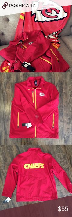 """Kansas City Chiefs Fan Set Set Includes:                                                                   NFL Team Apparel all weather fleece lined jacket NWT                               Size L                                                                               and                                                                       Northwest Company Make It Official KC Chiefs Silk Touch Plush Blanket.    60 x 80 """"    EUC Other"""