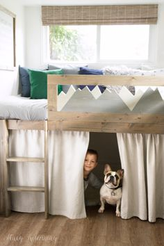 This is the perfect set of beds for a shared room! It is easy to build and customize. This tutorial will show you exactly how. Who doesn't love kid beds with storage! Boys Bedroom Decor, Kids Bedroom Furniture, Childrens Room Decor, Childrens Beds, Lego Bedroom, Diy Boy Room, Kids Bedroom Diy Boys, Boys Bedroom Ideas With Bunk Beds, Boy Bedroom Designs