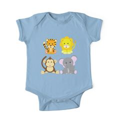 Baby Animal Pals Baby Bodysuit - Also buy this artwork on kids' apparel, stickers, home decor, and more. #babies #clothes #animals #onesies #giftideas