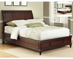 King-Size-Sleigh-Bed-Frame-Bedroom-Furniture-Wood-Solid-Cherry-Panel-Curved-Home