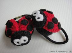 Crochet Pony Tie Holder  LADYBUG  2 pcs by skymagenta on Etsy, $6.00