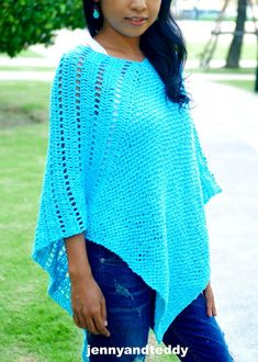 This crochet pattern is so easy to make and uses only a basic crochet stitch. I make this simple poncho with cotton yarn from just 2 rectangles. Crochet Shawl Free, All Free Crochet, Basic Crochet Stitches, Crochet Basics, Easy Crochet, Irish Crochet, Crochet Edgings, Crochet Tops, Cross Stitches