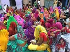 Gathering in the street in Jodhpur (possibly a birthday party).