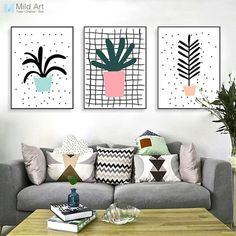 Modern Green Plants Cactus Leaf Poster A4 Triptych Nordic Living Room Wall Art Print Picture Home Decor Canvas Painting No Frame
