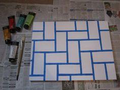 might make my own art DIY canvas art Simple Canvas Paintings, Easy Canvas Art, Diy Canvas, Canvas Wall Art, Painters Tape Art, Tape Painting, Diy Painting, Diy Wall Art, Diy Art