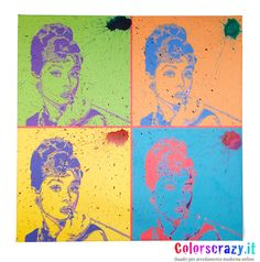 Quadro moderno Audrey Hepburn Pop Art - Acquista online su www.colorscrazy.it