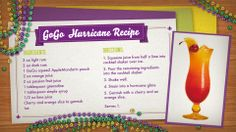 GoGo Hurricane Recipe for Mardi Gras