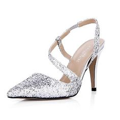 Sparkling Glitter Women's Stiletto Heel  Pointed Toe Sandals Shoes - USD $ 59.99