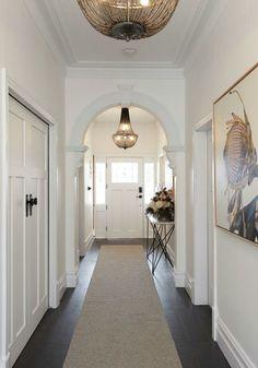 The Block 2017 - Hallway & Entrance - Beautiful House Weatherboard House, Queenslander, Victorian Hallway, Pool House Designs, Entry Hallway, Hallway Decorating, Victorian Homes, House Colors, Interior Design Living Room