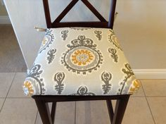 Modern ivory grey yellow Premier Prints Michelle Nova Birch Fabric seat cushion, kitchen chair pad, counter bar stool seat cover, washable by BrittaLeighDesigns on Etsy