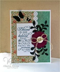 Handmade card by Marisa Ritzen using the Luke 1:45 Plain Jane from Verve. #vervestamps