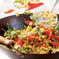Stir-Fried Carrots, Corn & Peppers recipe from the American Heart Association Easy Carrot Recipes, Vegetarian Recipes, Healthy Recipes, Healthy Meals, Diabetic Meals, Garlic Recipes, Veggie Meals, Side Recipes, Vegetable Recipes