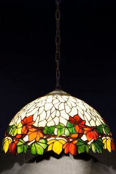 Colorful Chestnut stained glass floral lamp. by AzaleaLampStudio
