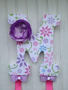 "9"" Custom Headband Bow Holder Headband Bow Organizer, Decoupage Letters, Children Initial Bow Holder Fabric Flower, baby shower gifts. $28.00, via Etsy."