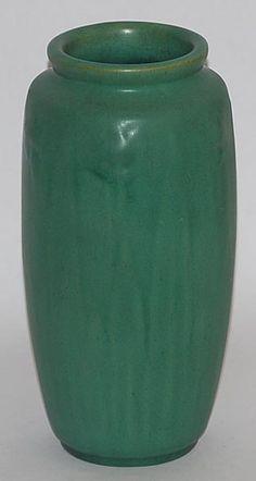 Teco Pottery Matte Green Daffodil Vase (Shape 60). Nice glaze