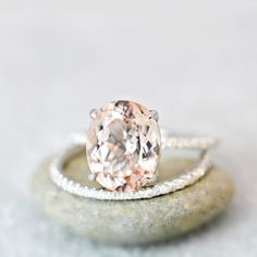 """256 Likes, 18 Comments - @anyedesigns on Instagram: """"Oval Morganite Engagement Ring Set on White Gold #anyejewelry #morganitering #engagementring…"""""""