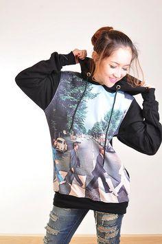 The Beatles Abbey Road Rock Punk Rock Hoodie Jacket Biker Sweater Tops Women Girl Sz S,M,L. I WANT ITTTT