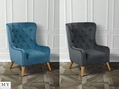 Dorchester,  Chesterfield Armchair Luxurious Velvet Grey /Blue,  My-Furniture