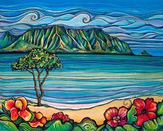 kaneohe bay, koolau, Kaneohe, Windward, Chinamans Hat, mountains, Hawaii, Colleen Wilcox