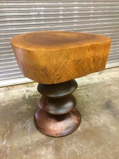 Patinated steel, copper and apple wood side table