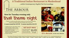 #TheArbour #ThaliThemeNight #Maidenhead 3 Course Meals, Curry Dishes, Naan, Restaurant, Traditional, Diner Restaurant, Restaurants, Dining