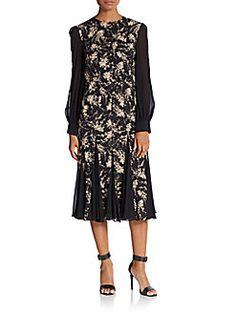 MICHAEL KORS Silk Elderflower-Print Dress. #michaelkors #cloth #dress