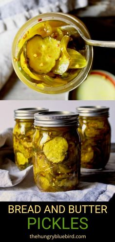 Bread and Butter Pickles ~ sweet and tangy, crunchy and a little spicy, these are the BEST pickles! Easy canning recipe to capture summer in a jar. #thehungrybluebird #breadandbutterpickles #canningrecipe #canning #preserving #homemade #easyrecipe | thehungrybluebird.com