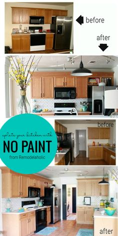 No paint needed! Update your kitchen, including keeping the oak cabinets, with these ideas from Remodelaholic. No paint needed! Update your kitchen, including keeping the oak cabinets, with these ideas from Remodelaholic. Oak Kitchen Remodel, Condo Kitchen, Kitchen Redo, Kitchen Remodeling, Updating Oak Cabinets, Oak Cabinets Redo, Fixer Upper, Two Tone Kitchen Cabinets, Kitchen Ideas Honey Oak Cabinets
