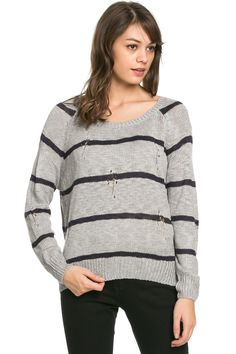 Round Neck Striped Sweaters Grey